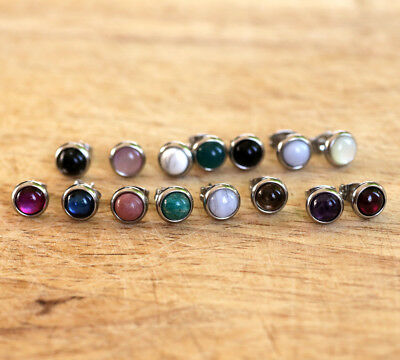 Surgical steel stud earrings with various natural shells and gemstones