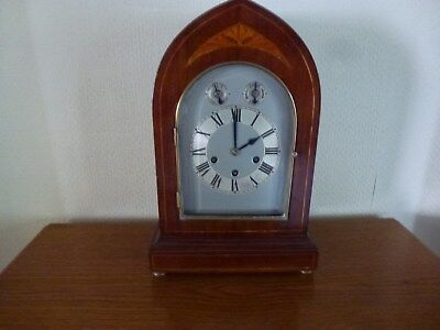 Large Antique Lancet Clock, Mahogany, Three Dial, with Chime