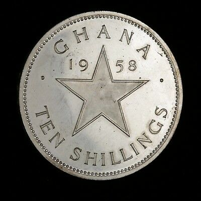 1958 Ghana silver ten shillings proof