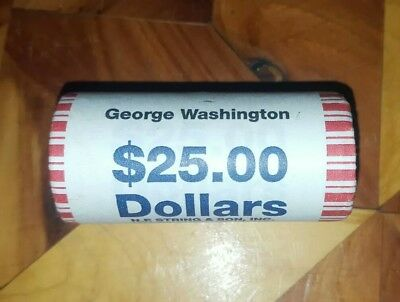 George Washington Presidential $1 Dollar Unopened 25 Coin Bank Roll