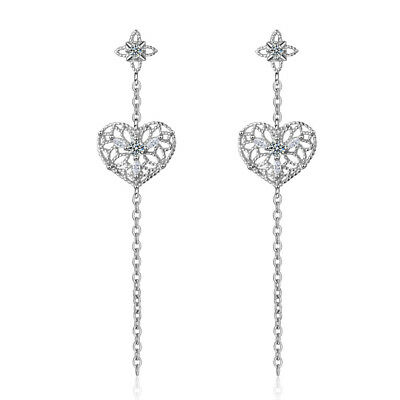 Muye 925 Sterling Silver Hollow Heart Tassel Earrings Stud For Women Jewelry