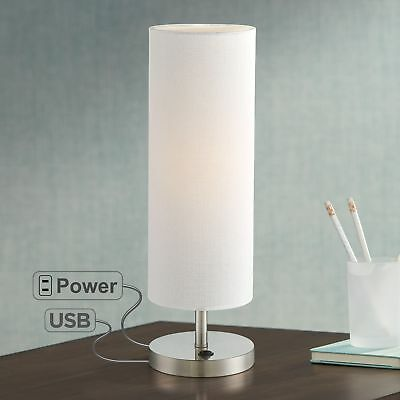 Modern Accent Table Lamp with USB Outlet Brushed Steel for Bedroom Living Room