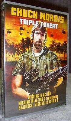 Missing in Action 1, 2, & 3•Chuck Norris: Triple Threat (DVD, 2017) New!•Sealed!