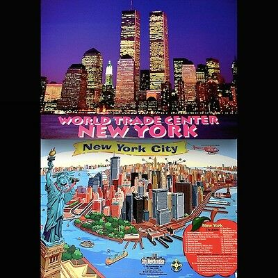 """World Trade Center Pre 9/11 Placemat VTG 17x12"""" MT WTC NYC Twin Towers Original"""