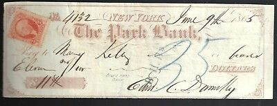 1865 Bank Check from The Park Bank NYC by Edward C Donelly Revenue Stamp