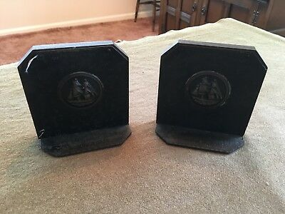 Pewter and wood book ends featuring sailing ship