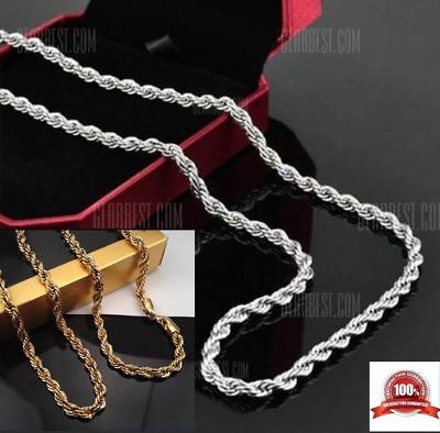 "24"" to 30"" Men& Women Gold plated Stainless Steel Twist Rope Chain Necklace 4mm"