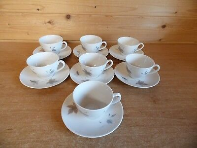 7 x Tea Cups and Saucers Royal Doulton Tumbling Leaves T.C.1004