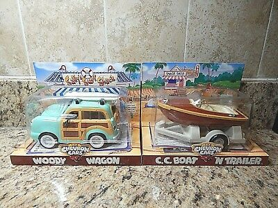 Chevron Retired Cars  New in Box Woody Wagon & C.C. Boat 'N Trailer Collectibles