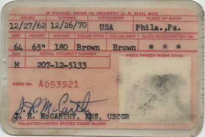 United States Coast Guard Port Security Card - Issued 1962