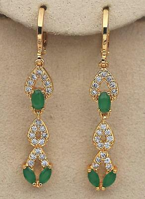 "18K Gold Filled 1.7"" Earrings Zircon Topaz Heart Emerald Eardrop Hoop Chain Lady"