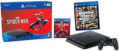 🍁New! Sony PlayStation PS4 Slim 1TB Console Spider-Man Bundle + GTA 5 game