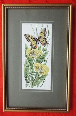 Framed Beautiful Original  Cash Of Coventry Woven On Silk  Swallowtail Butterfly