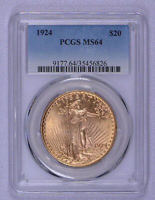 1924 Gold $20 St Gaudens Pcgs Graded Ms 64 Free Shipping!!
