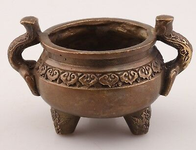 Ancient ChinA Bronze Statue Xiang Ding Incense Burner Old Buddhist Ornament