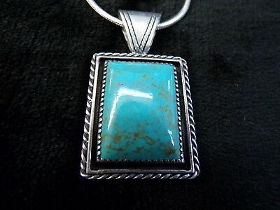 """Beautiful Sterling Silver Southwest Turquoise Pendant and Necklace 13"""""""