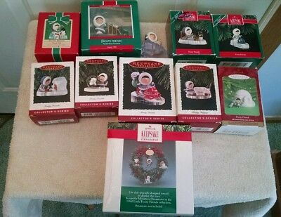 Lot of 11 Hallmark Frosty Friends Ornaments - 1984 thru 2000 + Wreath & Ornament
