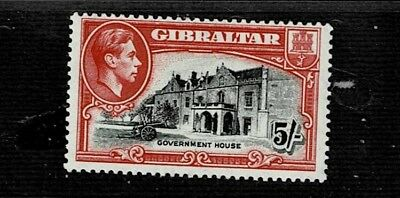 GIBRALTAR 1938 5s BLACK AND CARMINE p13.5 MOUNTED MINT