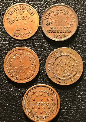 lot of 5 civil war tokens - overstrike on 10 cents