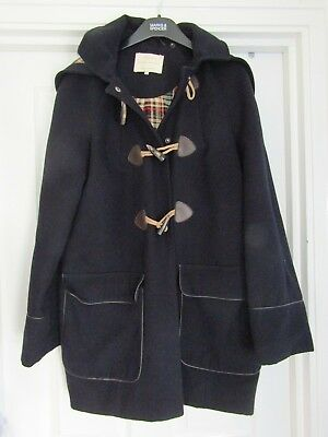 Ladies/Girls River Island Duffle Coat - Navy Blue with Check Lining - Size 8