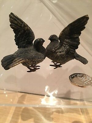 Charming Antique 19 C Austrian Cold Painted Bronze Pigeons Bird