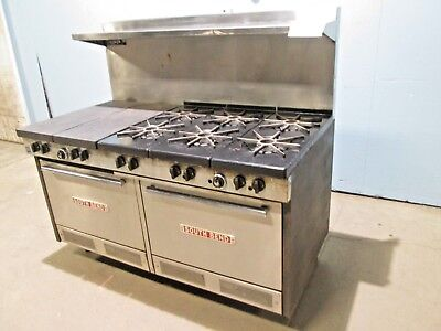 """SOUTHBEND""  HD COMMERCIAL (NSF) NAT. GAS 6 BURNERS STOVE w/FRENCH TOP & 2 OVENS"