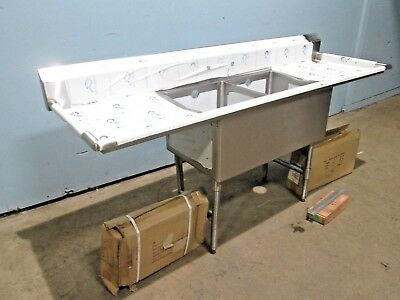 """""""ADVANCE TABCO"""" HEAVY DUTY COMMERCIAL (NSF) SS 84""""L 2 COMPARTMENT SINK w/FAUCET"""