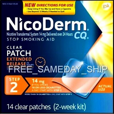 FREE_SAMEDAY_SHIP Nicoderm CQ Step-2  JULY 2019 (2-Week 14 Nicotine Patches 14mg
