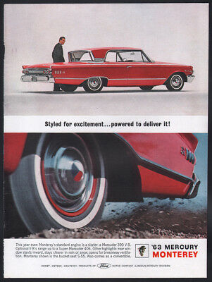 1963 Mercury ad red Monterey S-55 2-door Hardtop