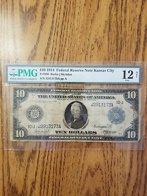 Fr 940 $10 Series Of 1914 Federal Note Kansas City Burke/mcadoo Pmg Fine 12