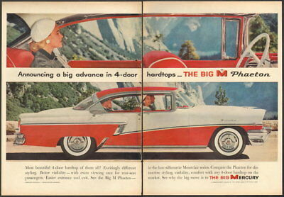1956 Mercury ad white and red Mercury Montclair Big M Phaeton 4-door Hardtop