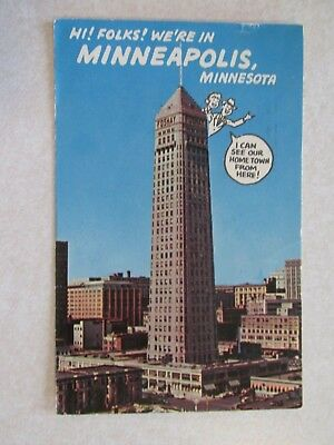 E352 Postcard Minneapolis Minnesota MN Hi Folks were in Smokey Bear cancel