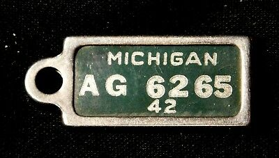 Vintage 1942 Michigan Miniature License Plate Style Tag Key Fob Early DAV