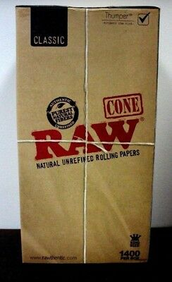 RAW King Size Cones PreRolled 1400ct  Natural Classic Rolling Papers W Hemp Tips
