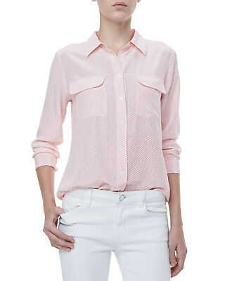 b42bccf78c4b0 EQUIPMENT Women s Linear Hoops SLIM SIGNATURE Silk Pocket Blouse Top Pink  ...