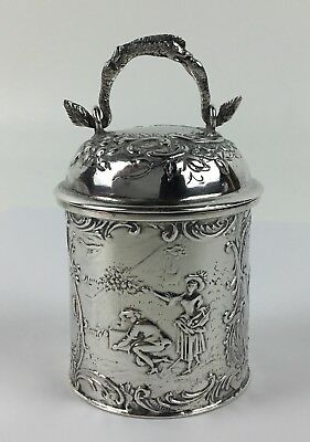 Antique Gebrüder Dingeldein Hanau Sterling Silver 1800s Snuff Box / Caddy - WOW!