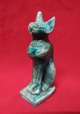 Ancient Egyptian Antiquities rare Statue of God Bastet (1323 BC)