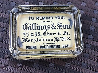 Antique Glass Advertising Paperweight - Gillings & Son Paddington