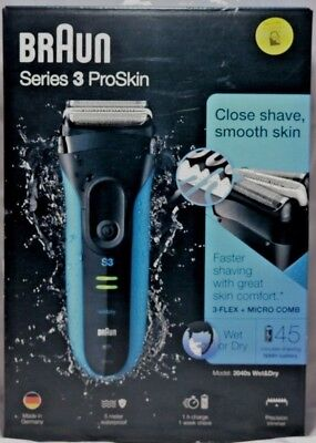 Brand New Sealed Braun Series 3 ProSkin 3040s Rechargeable Wet&Dry Shaver - Blue