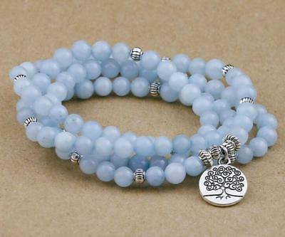 6MM 108 Blue Chalcedony Stone Beads Women Bracelet mala Hot cuff Meditation