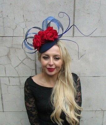 Navy Royal Blue Red Rose Flower Feather Hat Hair Fascinator Races Ascot 6836