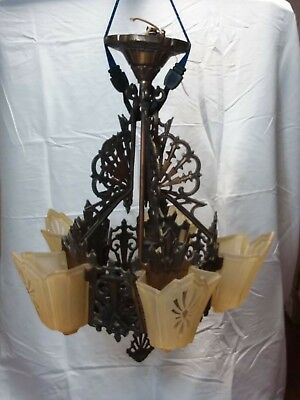 Vintage 5 Light Art Deco Chandelier Slip Shade Light Fixture! Awesome!!!