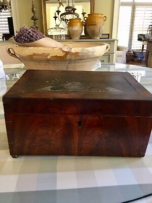 Early American Walnut Box w Colored Painted Top Dovetailed
