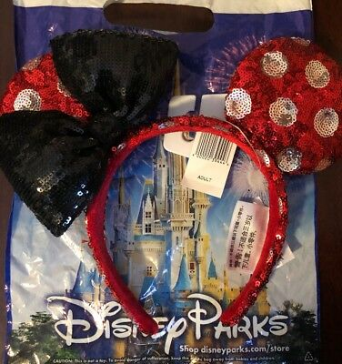 NEW Disney Parks Minnie Mouse Polka Dot Red Sequin Ear Headband Authentic Ears