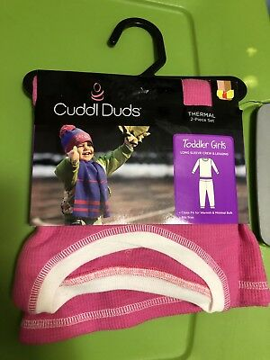 NWT Girls Cuddl Duds Girls sz 2T/3T 2 piece Warm cotton/poly Thermals PINK