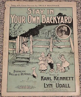 Vintage 1899 Large Sheet Music - STAY IN YOUR OWN BACK YARD - African American