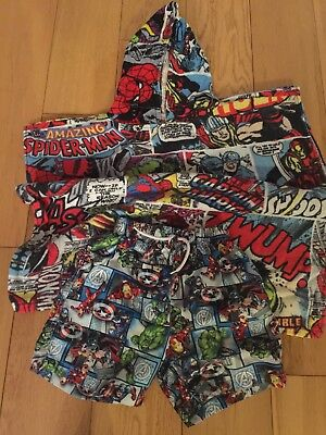 Boys Avengers Swim Trunks And Hooded Towel Age 6-7