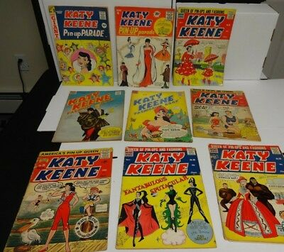 Lot Of 9 Katy Keene Goldenage Comics Great Covers Gga 1950's Noreserve Others