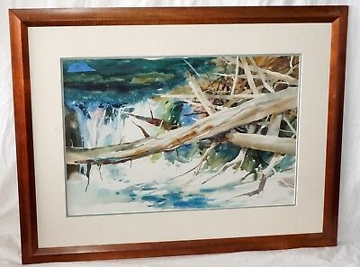 '70s US WC Painting Fallen Trees & River Rapids by Irving Shapiro (1927-94)(Rad)