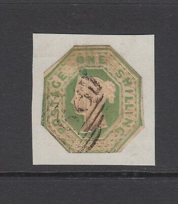 GB QV 1s. Green SG55 Embossed 1853 Used Stamp, Cut to shape and stuck on paper
